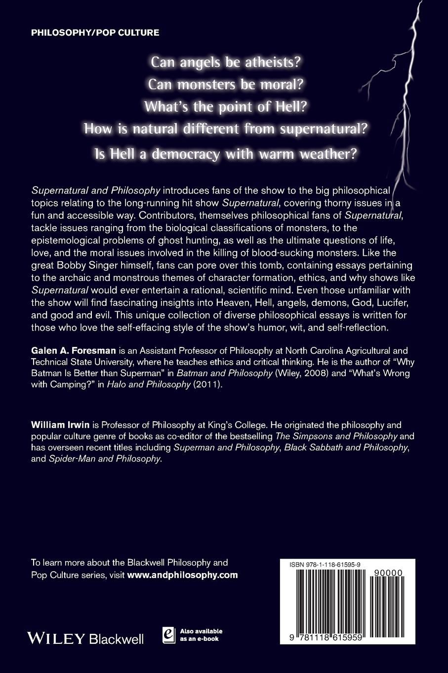 Irwin Supernatural and Philosophy P william irwin final fantasy and philosophy the ultimate walkthrough