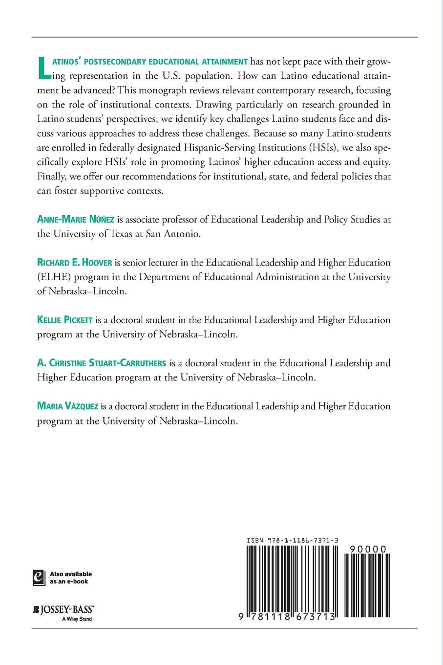 AEHE, Hoover, Nuñez Latinos in higher education. A dina maramba c asian americans in higher education charting new realities aehe volume 40 number 1