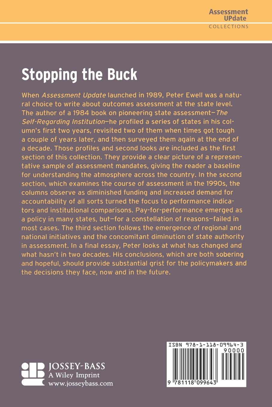 Au (Assessment Update), Ewell Stopping the Buck. Selections from States