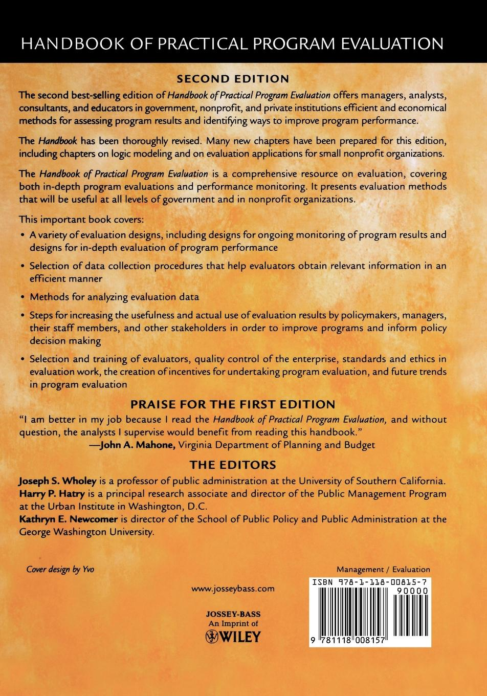 Wholey Handbook of Practical Program Evaluation practical program evaluation assessing and improving planning implementation and effectiveness