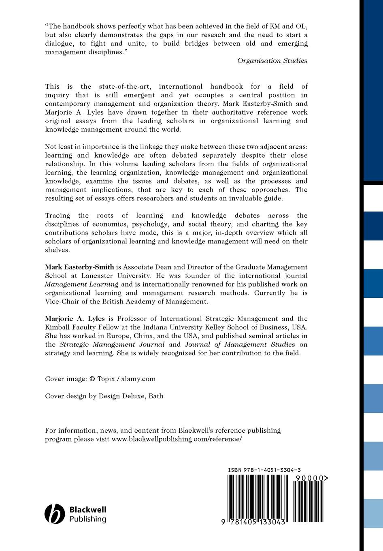 Easterby-Smith, Lyles Blackwell Handbook of Organizational fred smith handbook of forensic drug analysis