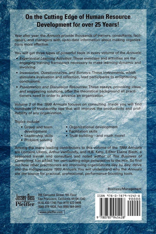 J. William Pfeiffer, Pfeiffer The 1999 Annual, Agency Edition. Volume 2: Consulting g j pfeiffer inquietude op 82