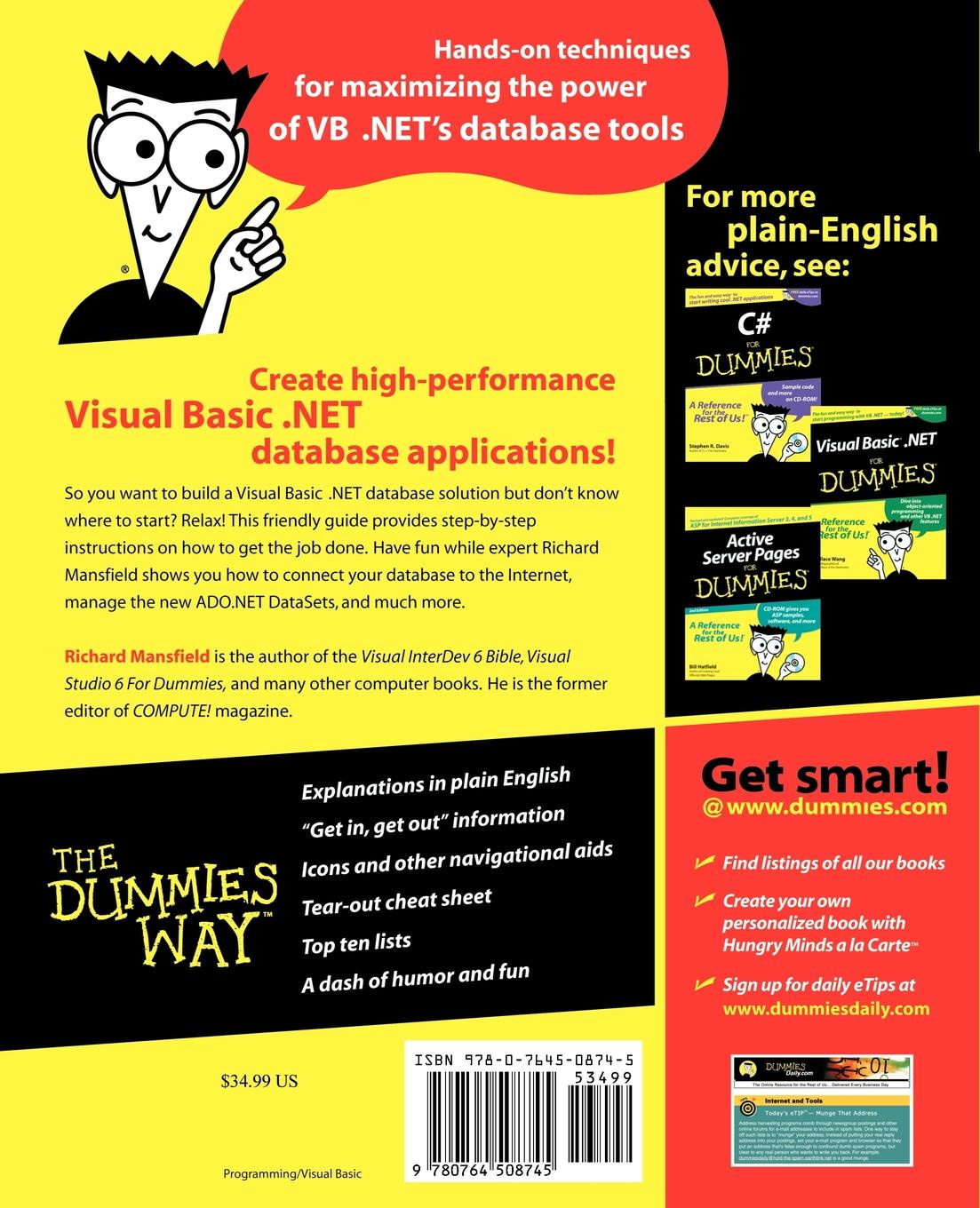 лучшая цена Richard Mansfield, Mansfield Visual Basic.Net Database Programming for Dummies