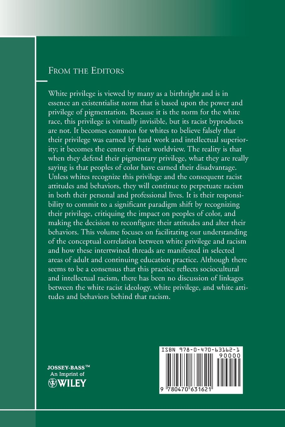 Adult and Continuing Education (Ace), Ace White Privilege Racism. Perceptions Actions: New Directions for Education, Number 125