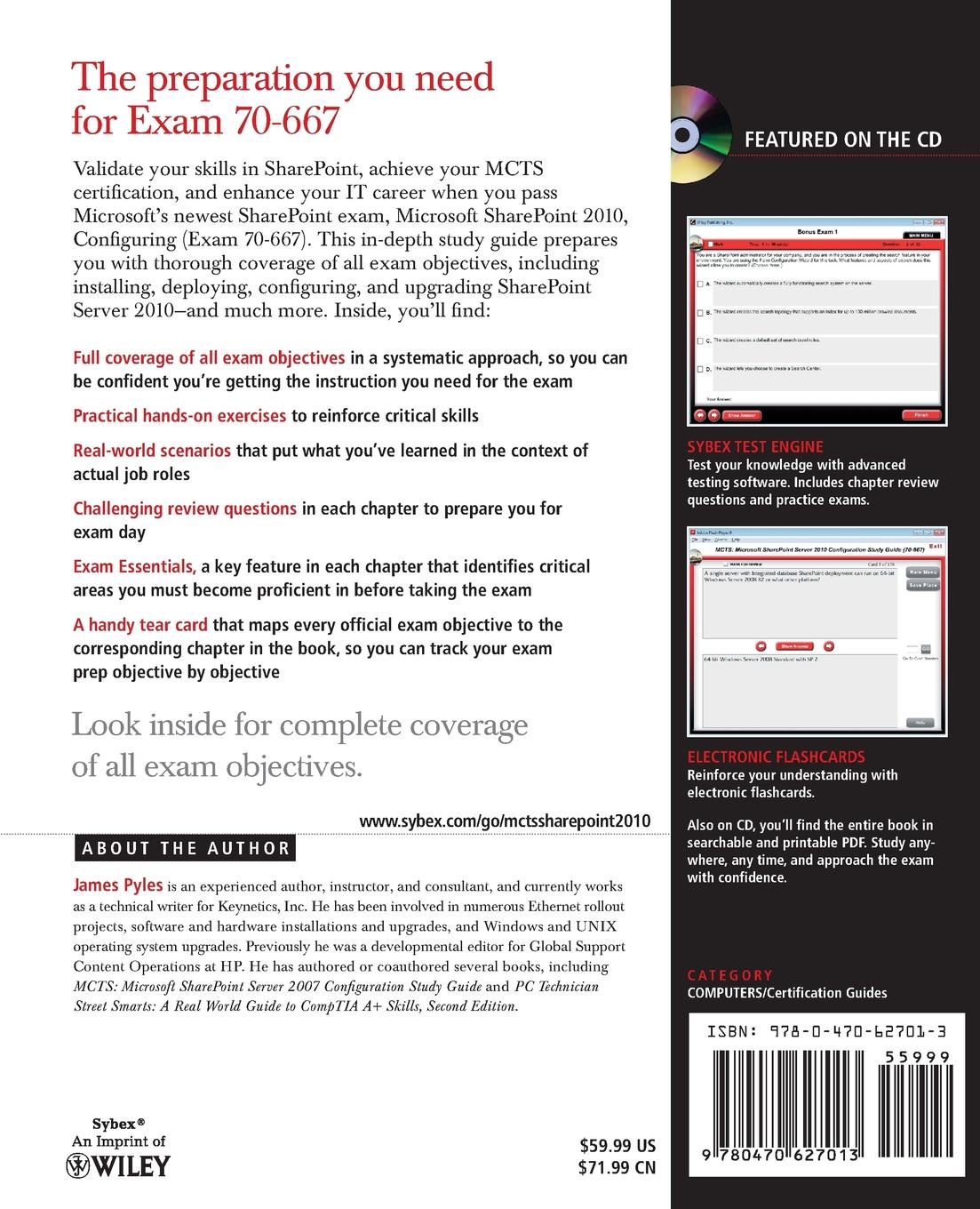 James Pyles MCTS Microsoft SharePoint 2010 Configuration Study Guide. Exam 70-667 .With CDROM. mcts microsoft® exchange server 2007 configuration study guide