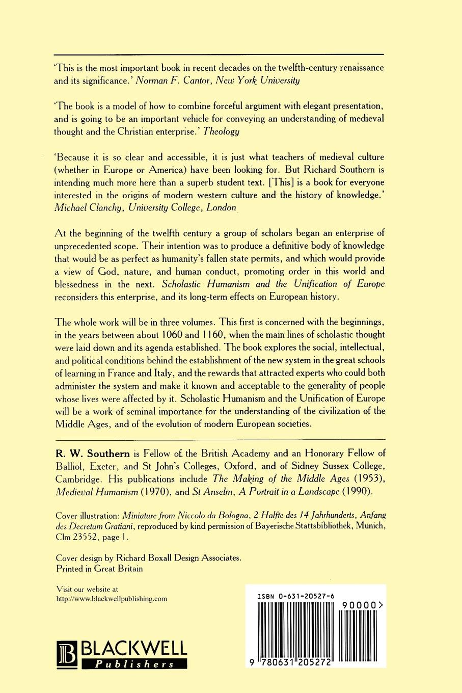 R. W. Southern, Richard Southern Scholastic Humanism and the Unification of Europe. Foundations