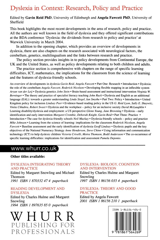 Gavin Reid, Angela J. Fawcett, Silver Osb Osb Reid Dyslexia in Context. Research, Policy and Practice плита osb 3 kronospan 2440х1220х12мм