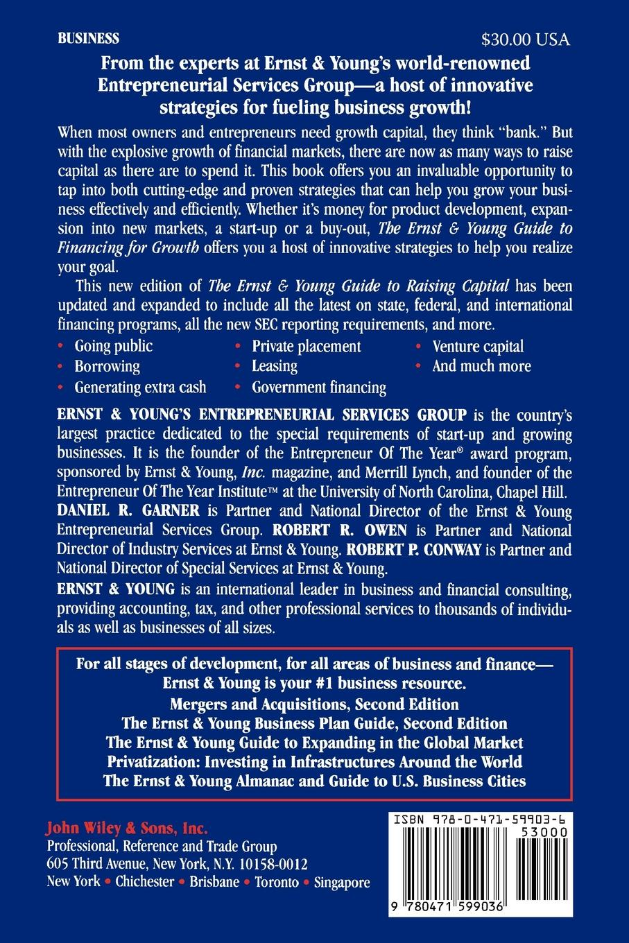 Daniel R. Garner, Robert P. Conway, Owen The Ernst & Young Guide to Financing for Growth