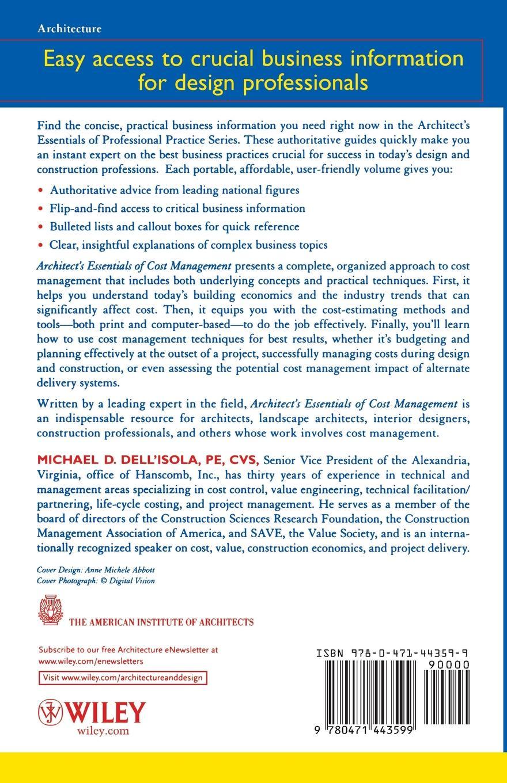 Michael D. Dell'isola Architect's Essentials of Cost Management reginald yu lee tomas essentials of capacity management