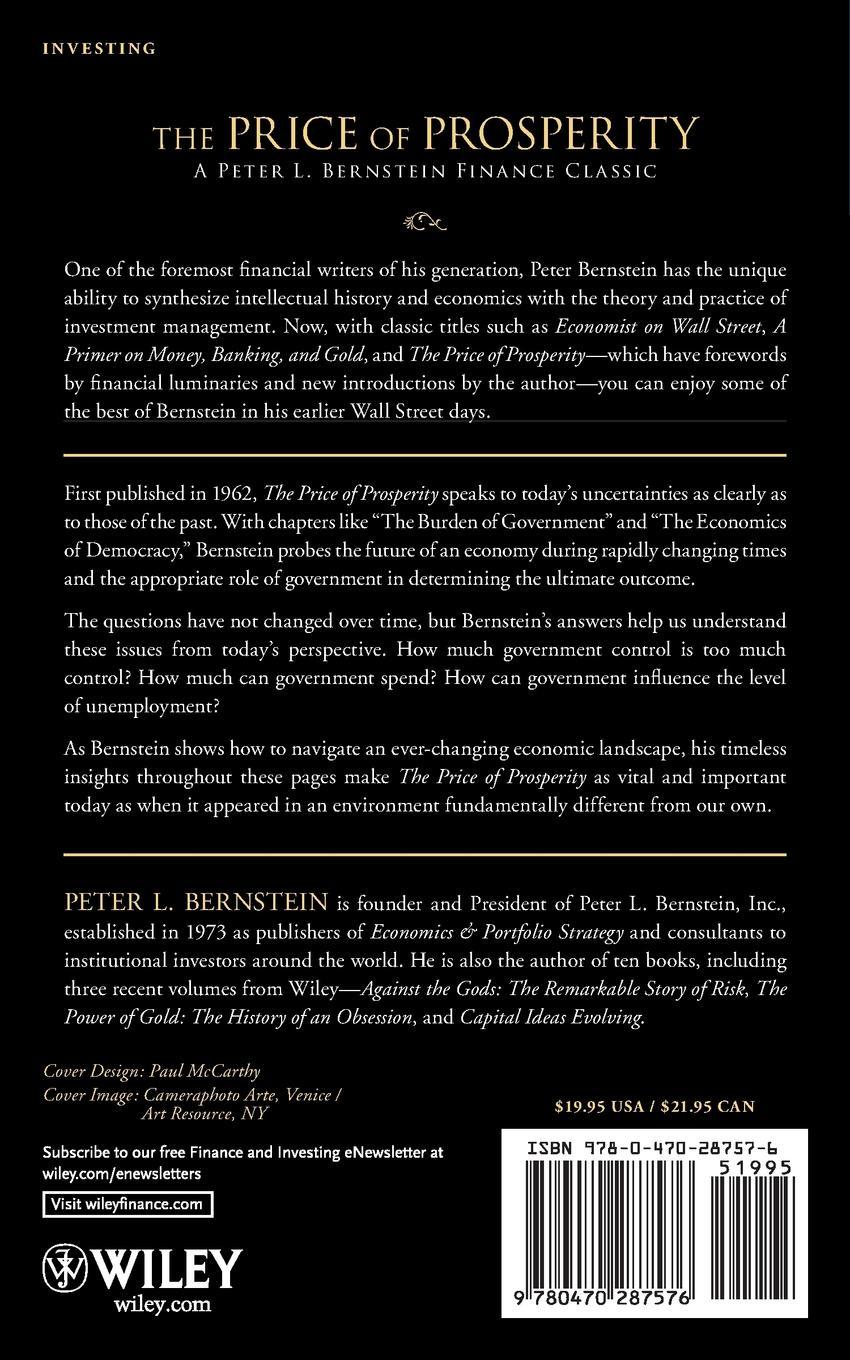 Peter L. Bernstein The Price of Prosperity. A Realistic Appraisal of the Future of Our National Economy peter baumann projecting the future