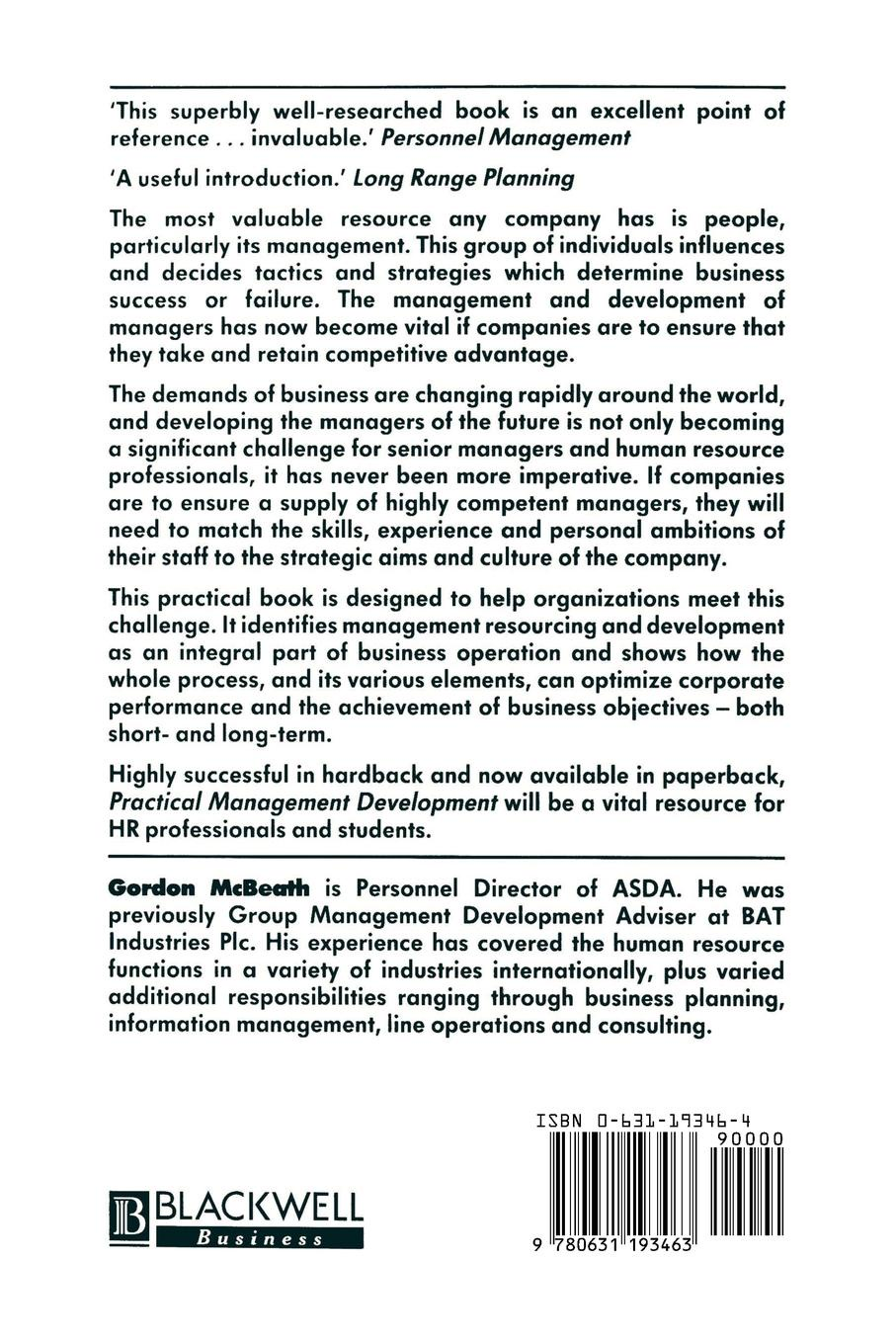 Gordon McBeath Practical Management Development. Strategy for Management Resources and Development in the 1990s corporate cash management strategy and practice