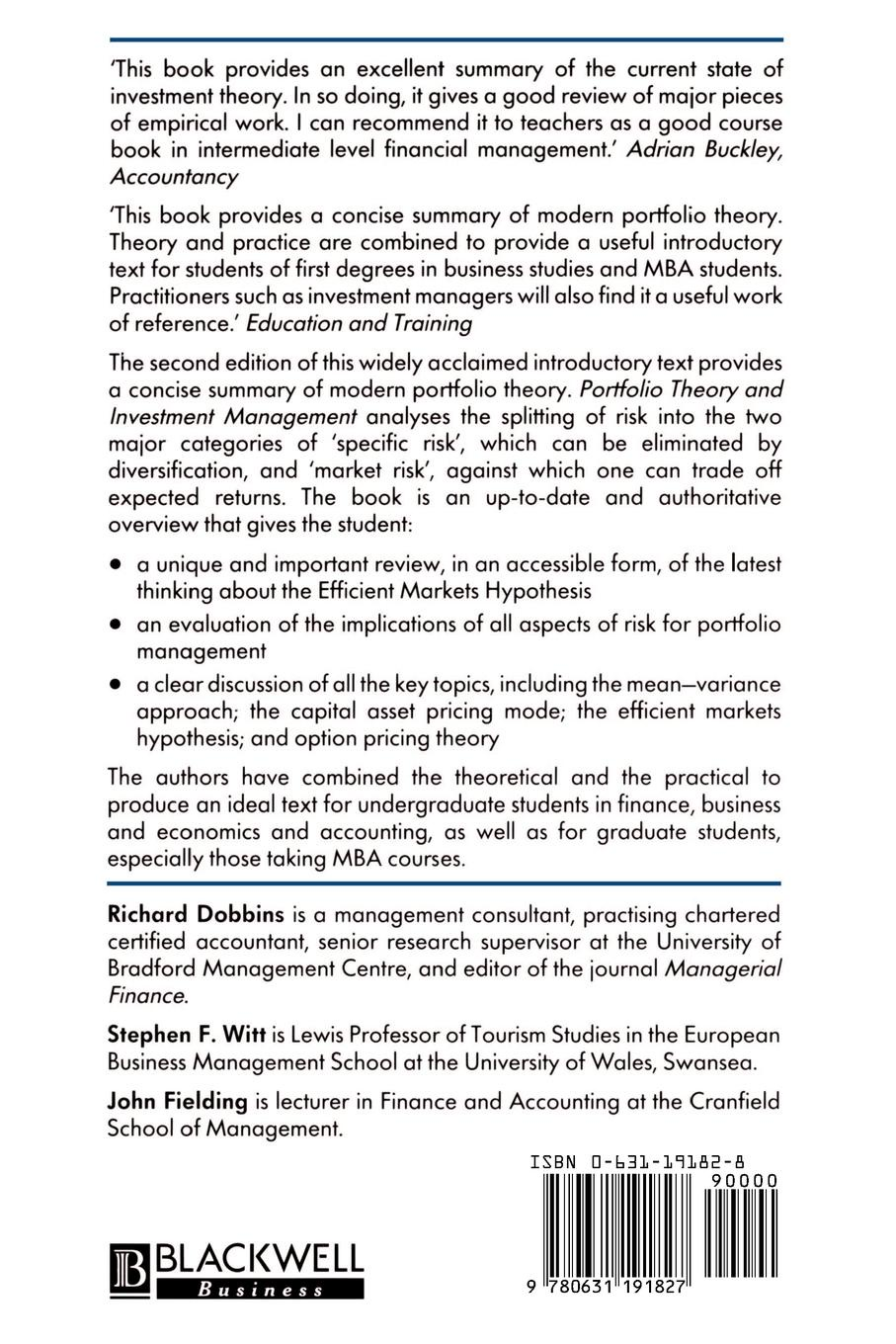 Фото - Richard Dobbins, Stephen Witt, John Fielding Portfolio Theory and Investment Management ralph vince the leverage space trading model reconciling portfolio management strategies and economic theory