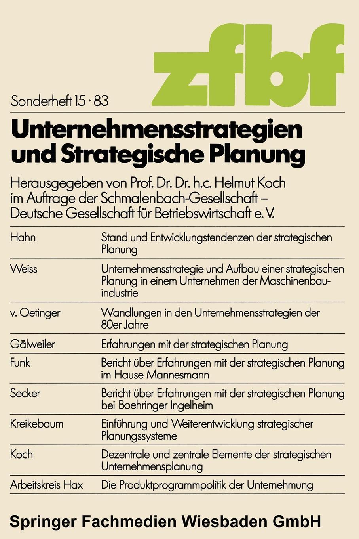 Helmut Koch Unternehmensstrategien und strategische Planung цена и фото
