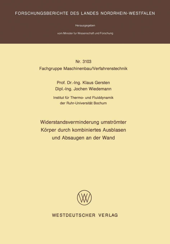 Klaus Gersten Widerstandsverminderung Umstromter Korper Durch Kombiniertes Ausblasen Und Absaugen an Der Wand massager wand