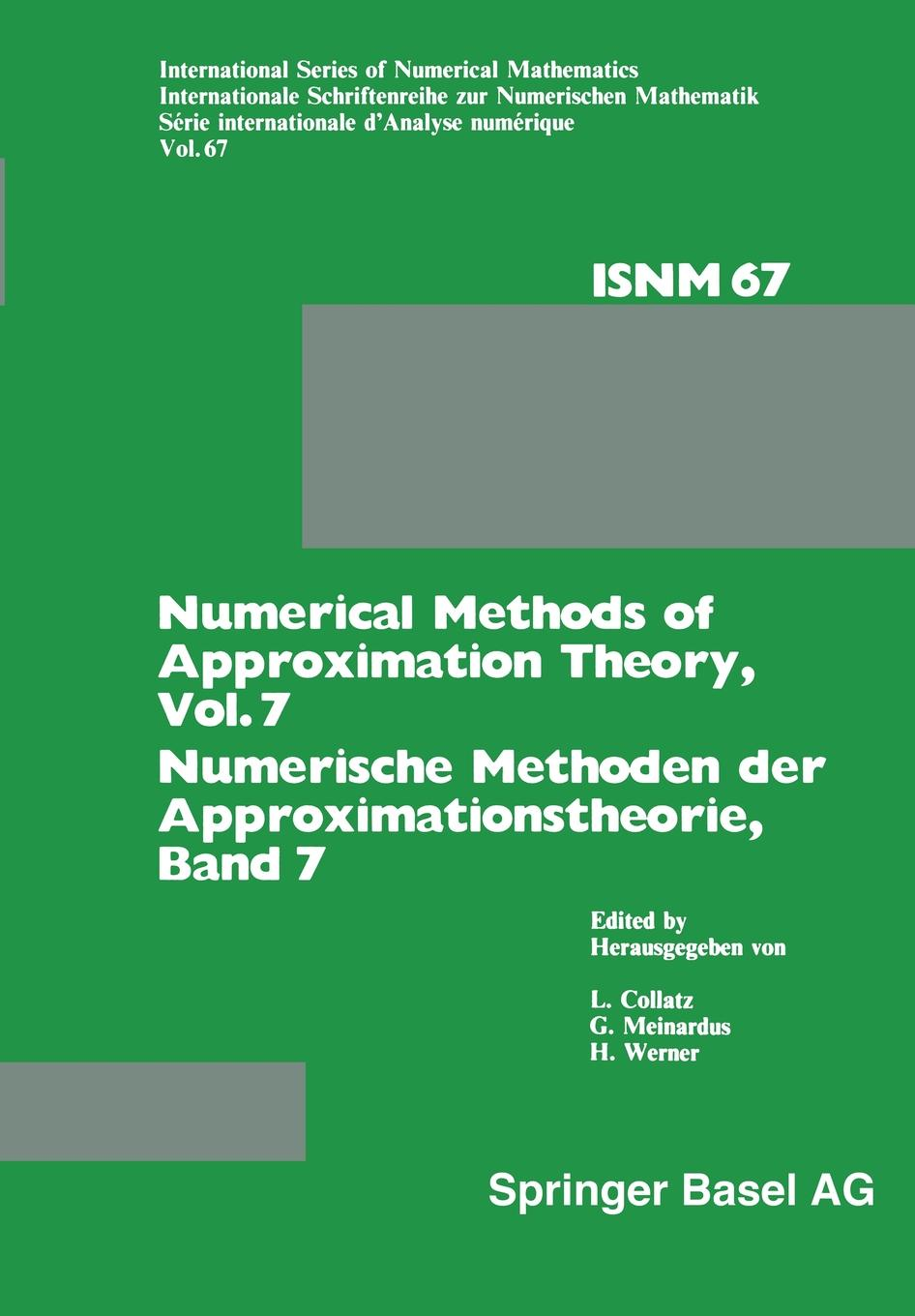 L. Collatz, G. Meinardus, H. Werner Numerical Methods of Approximation Theory, Vol. 7 / Numerische Methoden Der Approximationstheorie, Band 7. Workshop on Numerical Methods of Approximat eisley joe g analysis of structures an introduction including numerical methods