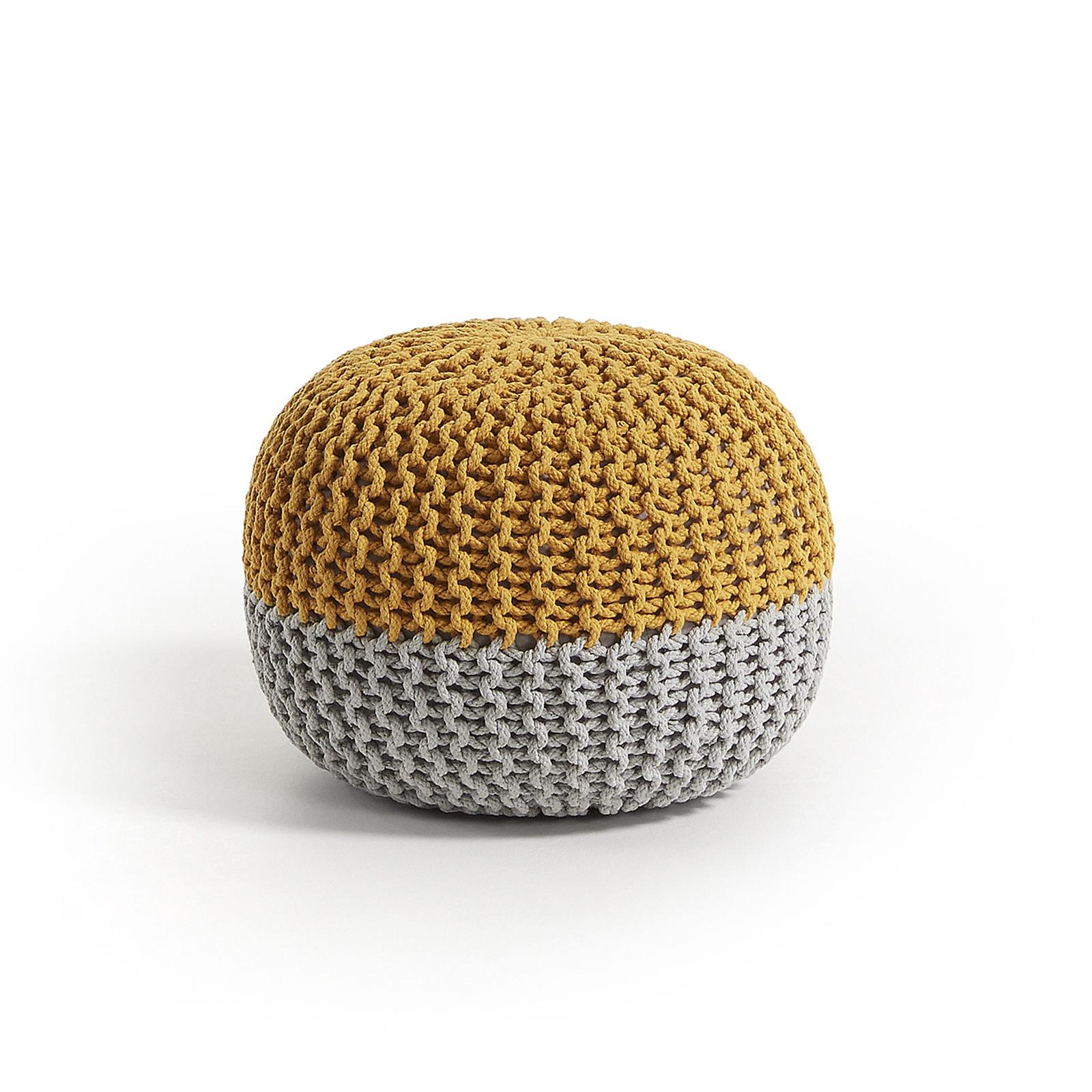 Пуф ARIEH из хлопка круглый серо-горчичный Ш.50 В.35 Г.50 Вес 2.9кг; Материал Ткань; Цвет Желтый