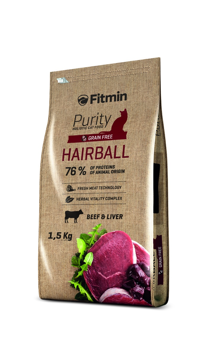 Fitmin Cat Purity Hairball беззерновой корм д/к с говядиной 1,5кг