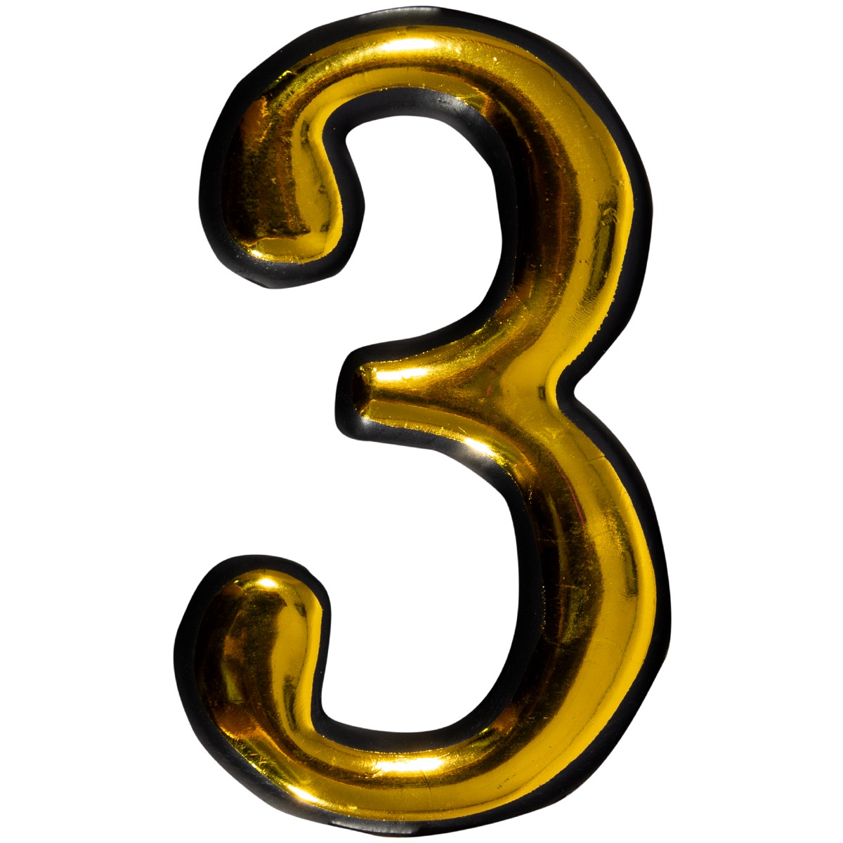 Цифра 3 для двери пластиковая самоклеящаяся большая золото большая discoteka 90