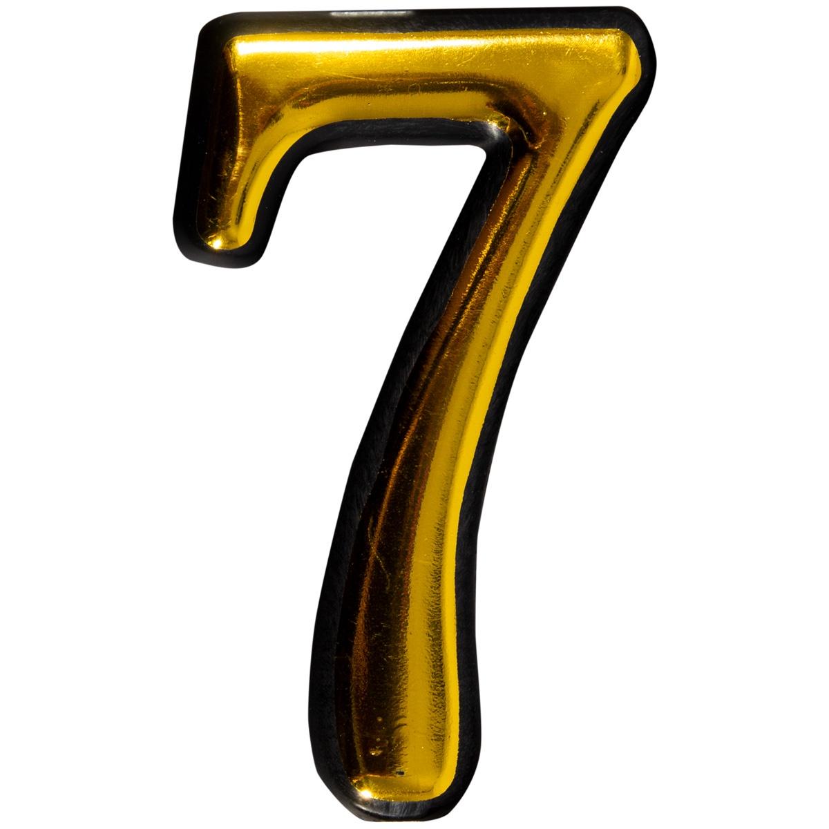Цифра 7 для двери пластиковая самоклеящаяся большая золото большая discoteka 90