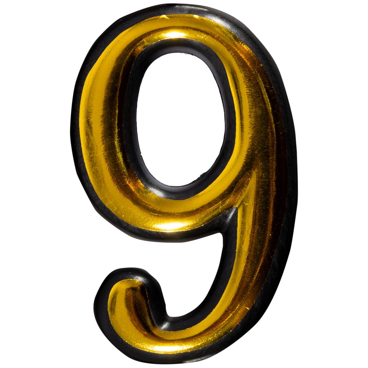 Цифра 9 для двери пластиковая самоклеящаяся большая золото большая discoteka 90