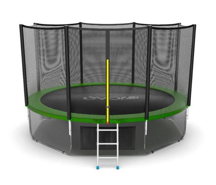 Батут EVO JUMP External 12ft (Green) + Lower net. с внешней сеткой и лестницей, диаметр 12ft (зеленый) + нижняя сеть зеленый батут evo jump external 16ft blue