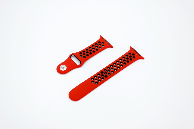 Ремешок для смарт-часов Apple Силиконовый ремешок для Watch 42/44 серия Nike, красный часы apple watch nike series 3 gps cellular 42 мм корпус из алюминия цвета серый космос спортивный ремешок nike цвета антрацитовый чёрный