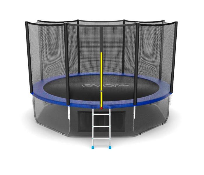 Батут EVO JUMP External 12ft (Blue) + Lower net. с внешней сеткой и лестницей, диаметр 12ft (синий) + нижняя сеть синий цены