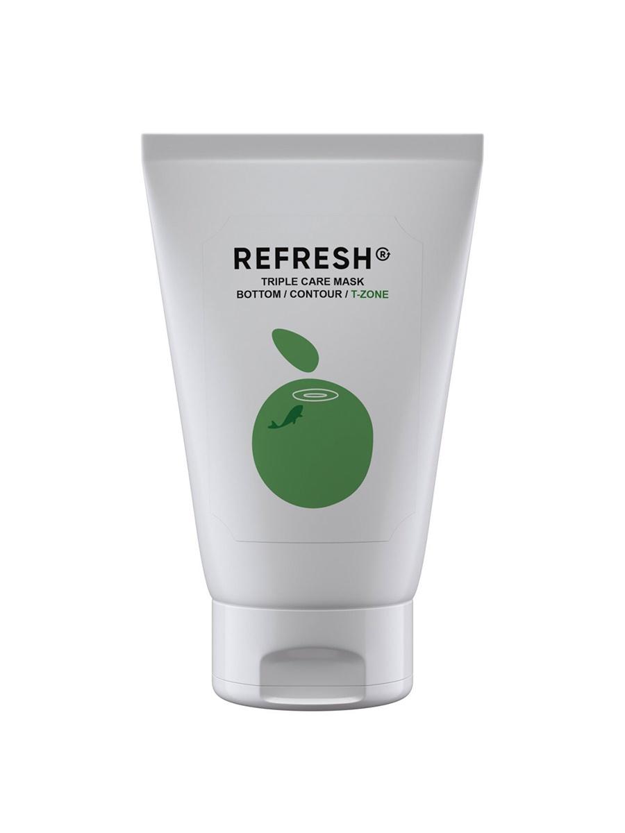 Маска косметическая Refresh Зеленая детокс маска для Т- зоны Triple Care Mask T-zone 50 мл
