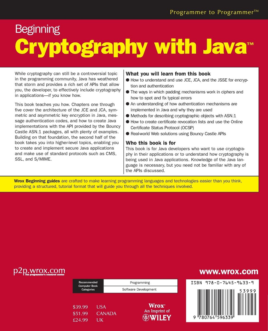 David Hook Beginning Cryptography with Java ajay vohra deepak vohra pro xml development with java technology