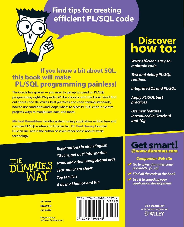 Michael Rosenblum, Paul Dorsey Oracle PL/SQL for Dummies paul mladjenovic micro entrepreneurship for dummies isbn 9781118591871
