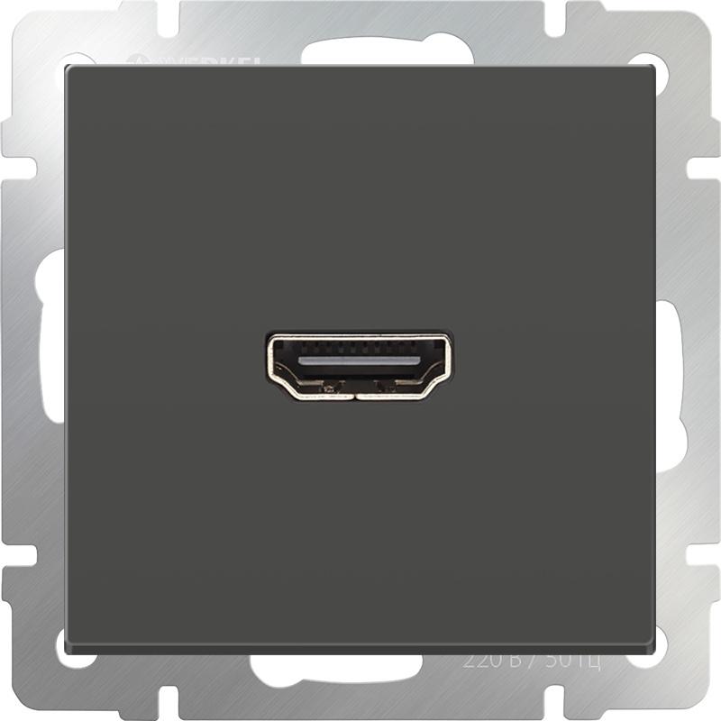 Розетка Werkel HDMI (серо-коричневый) WL07-60-11, темно-серый диммера werkel antik серо коричневый wl07 audiox4 wl07 dm600