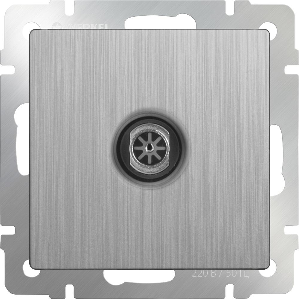 Розетка Werkel ТВ оконечная (cеребряный рифленый) WL09-TV, серебристый тв розетка оконечная черный матовый wl08 tv 4690389054273