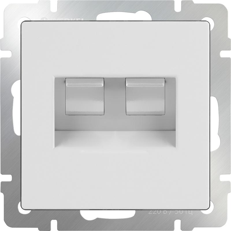 Розетка Werkel двойная Ethernet RJ-45 (белая) WL01-RJ45+RJ45, белый werkel розетка двойная ethernet rj 45 серебряный werkel wl06 rj45 rj45 4690389073540