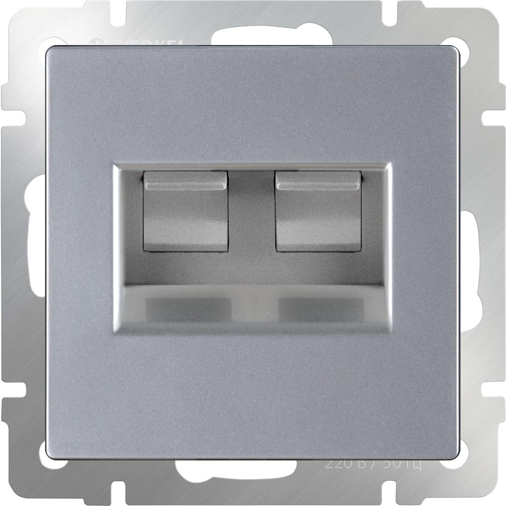 Розетка Werkel двойная Ethernet RJ-45 (серебряный) WL06-RJ45+RJ45, серебристый