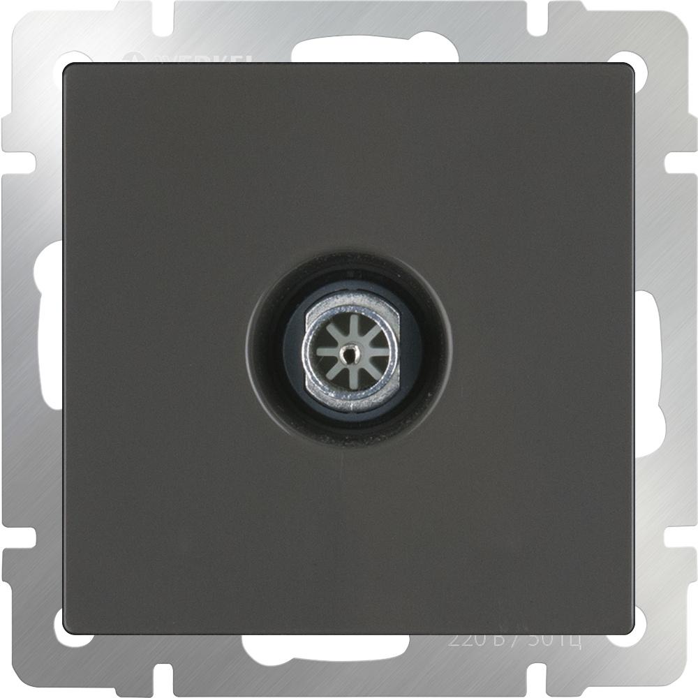 WL07-TV-2W/ ТВ-розетка проходная (серо-коричневый) диммера werkel antik серо коричневый wl07 audiox4 wl07 dm600