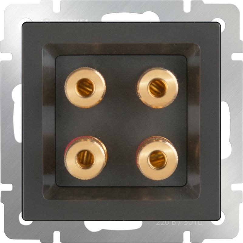WL07-AUDIOx4 / Аккустическая розетка (серо-коричневый) диммера werkel antik серо коричневый wl07 audiox4 wl07 dm600