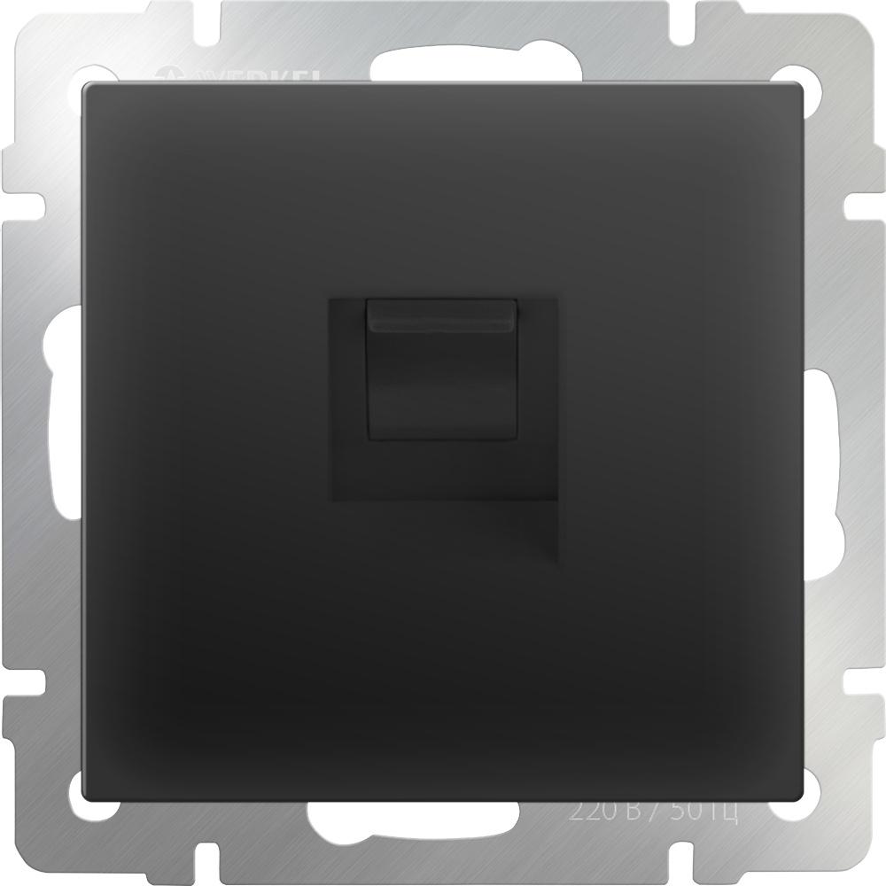 Розетка Werkel Ethernet RJ-45 (черный матовый) WL08-RJ-45, черный кабель ethernet rj 45 chord c stream 0 75 m