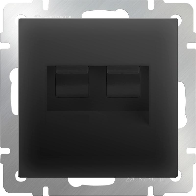 WL08-RJ11+RJ45/ Розетка телефонная RJ-11 и Еthernet RJ-45 (черный матовый) двухместная телефонная розетка volsten v01 21 f22 s rj 11 violet 9120
