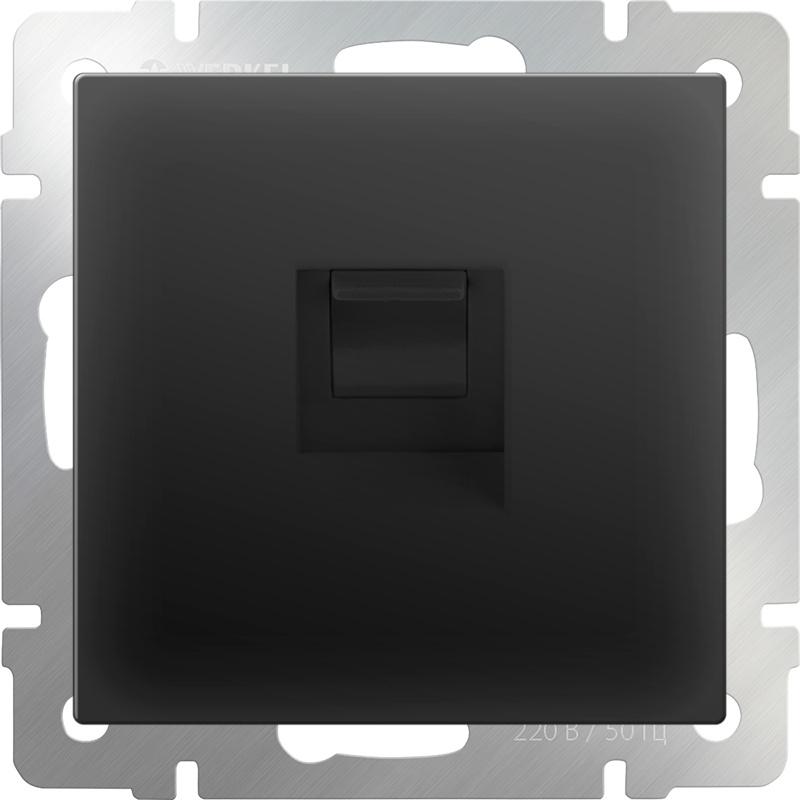Розетка Werkel телефонная RJ-11 (черный матовый) WL08-RJ-11, черный двухместная телефонная розетка volsten v01 21 f22 s rj 11 violet 9120