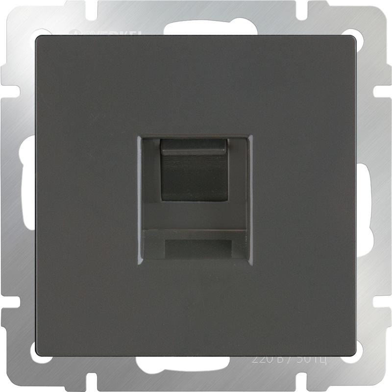 WL07-RJ-11/ Телефонная розетка RJ-11 (серо-коричневый) двухместная телефонная розетка volsten v01 21 f22 s rj 11 violet 9120