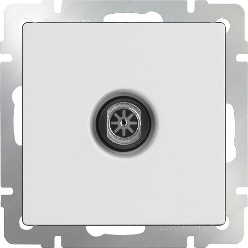 Розетка Werkel ТВ оконечная (белая) WL01-TV, белый кабель тв вилка тв розетка антенный 3 м