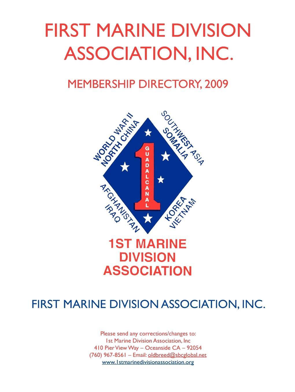 Inc. First Marine Division Association Association, Membership Directory, 2009