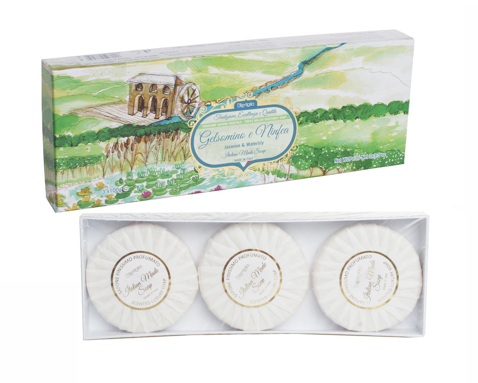 Подарочный набор Iteritalia премиальное натуральное мыло с ароматами  жасмина и кувшинки
