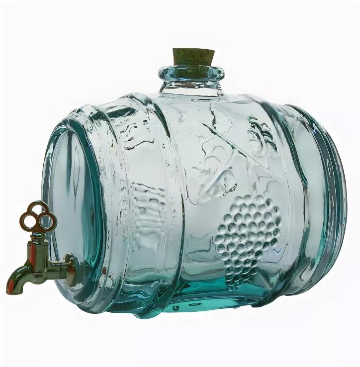 Бутылка емкость с краном и с пробкой Бочка, прозрачный