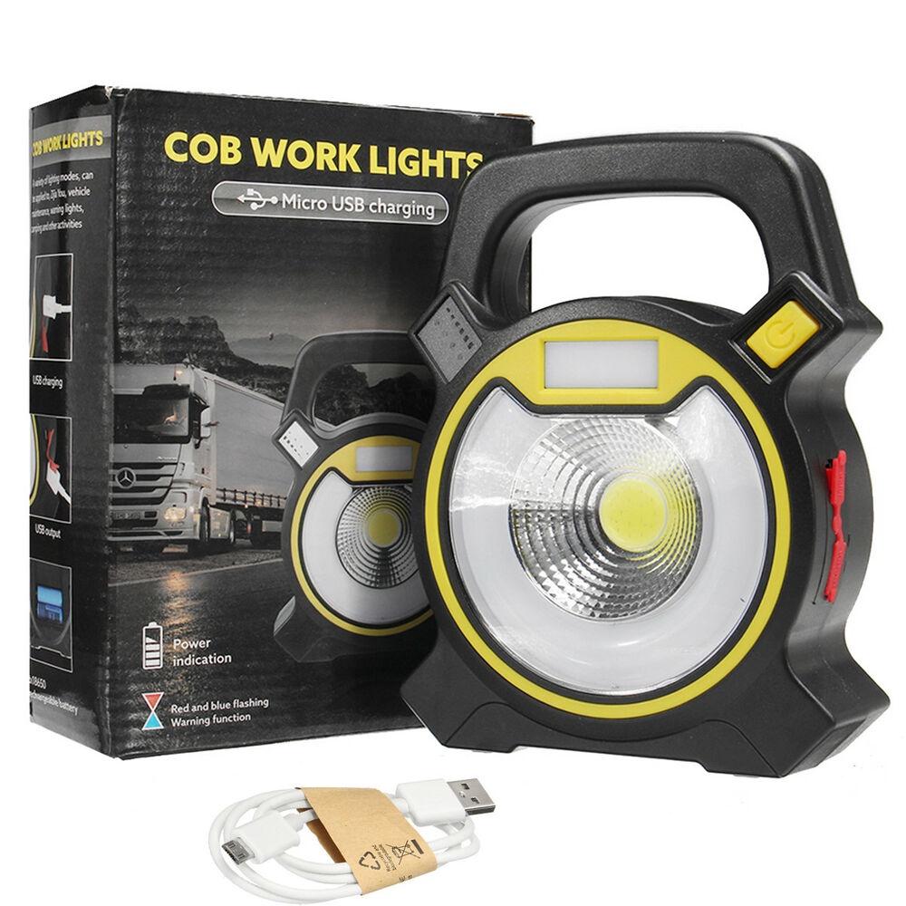 Переносной светодиодный фонарь Cob Work Lights на солнечной батарее 2 режима