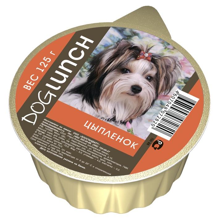 Dog Lunch консервы для собак крем-суфле с Цыпленком ламистер 125г 10шт