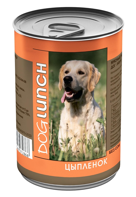 Dog Lunch консервы для собак Цыпленок в желе 410г