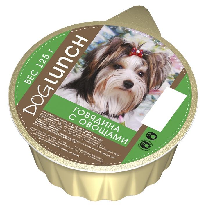 Dog Lunch консервы для собак крем-суфле с Говядина овощами ламистер 125г 10шт