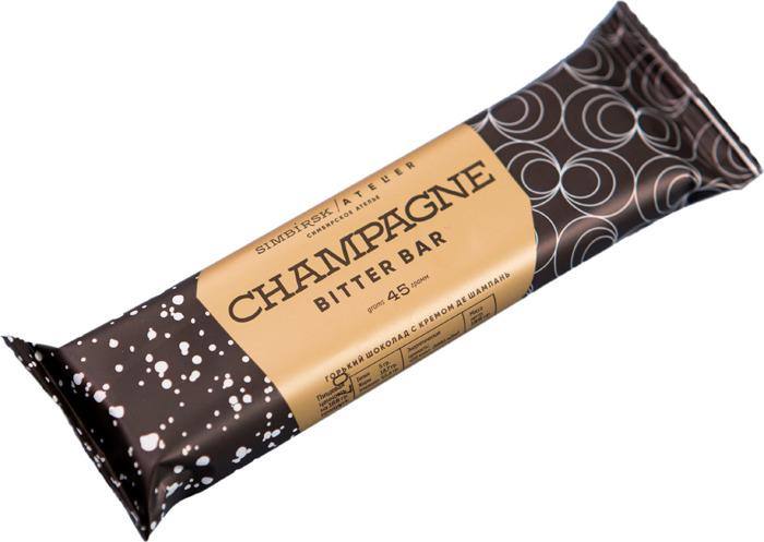 Шоколадный батончик Simbirsk Ateler Champagne Bitter Bar, горький шоколад с кремом Де Шампань, 45 г nuts duo шоколадный батончик 66 г