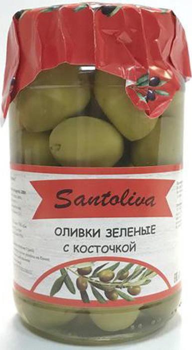 Овощные консервы Santoliva Оливки зеленые с косточкой, стеклянная банка, 350 г guerola оливки зеленые сорта кампо реал с косточкой 2 25 кг